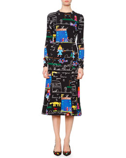 Children's-Drawing Fit-and-Flare Dress