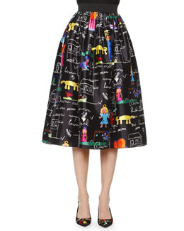 Children's Drawing-Print Midi Skirt