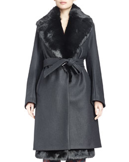 Riviera Rabbit Fur-Trimmed Woven Coat