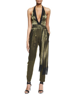 Metallic Charmeuse Halter Jumpsuit, Gold/Black