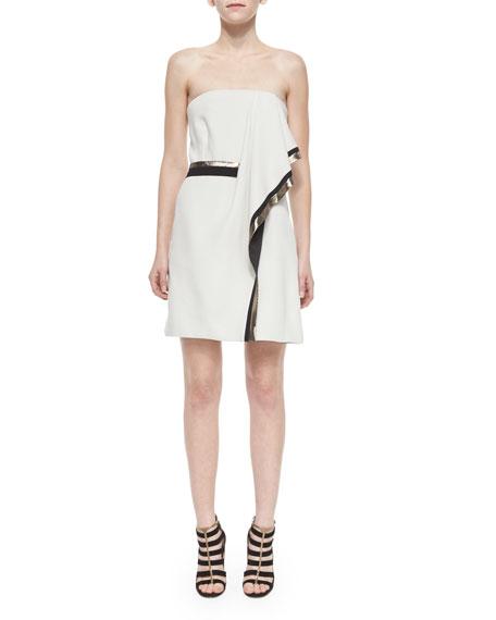 Metallic-Trim Strapless Scarf-Draped Dress