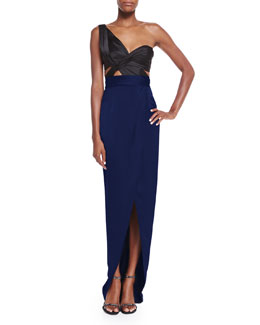 Silk Drape-Knot One-Shoulder Gown, Black/Navy