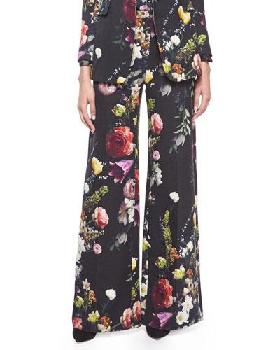 Floral-Print Wide-Leg Pants
