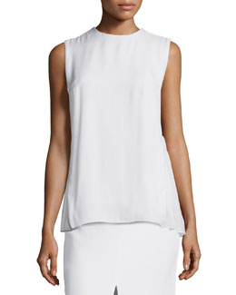 Side-Pleated Crepe Shell, Ivory