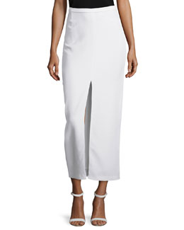 Split-Front Crepe Long Skirt