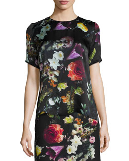 Floral-Print Back-Pleated Top