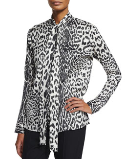 Leopard-Print Silk-Blend Tie-Neck Blouse, Black/White