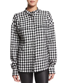 Buffalo-Check Flannel Top, White/Black