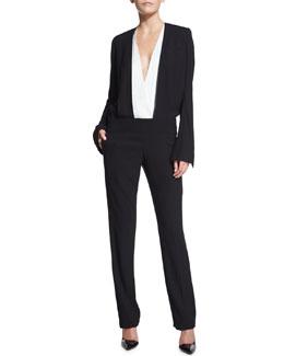 Long-Sleeve Bicolor Jumpsuit, Black/White