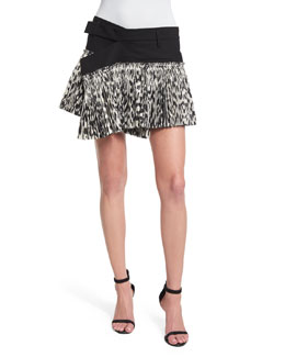 Asymmetric Leopard-Print Plisse Mini Skirt, Black/White