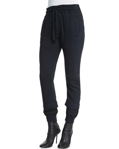 Seamed Jersey Drawstring Sweatpants