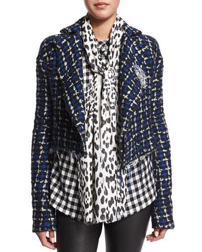 Leopard-Print Silk Scarf, Black/White