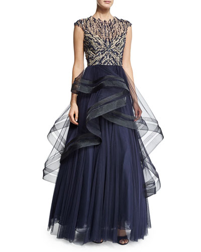 Cap-Sleeve Illusion Ruffle Peplum Gown, Midnight/Multi