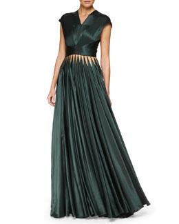 Cutout Crisscross Pleated Gown