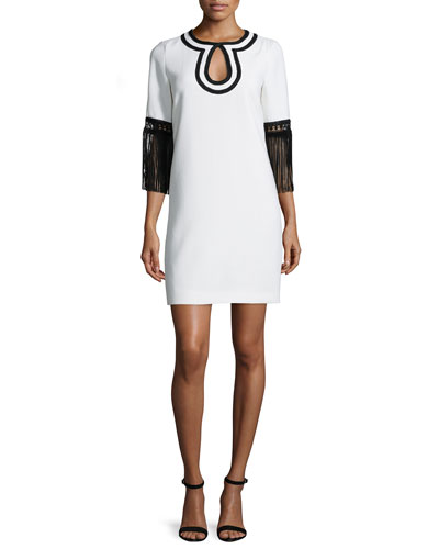 Wool-Crepe Keyhole Tassel-Sleeve Dress, Black/White