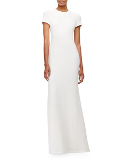Open-Back Crepe Gown, Milk