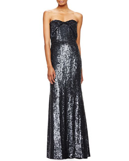 Strapless Sweetheart Allover Sequined Gown