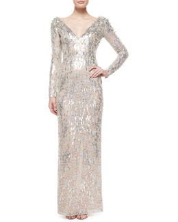 Textured Beaded Metallic Lace Dress