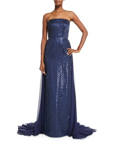 Strapless Beaded Duchess Satin Gown w/Chiffon Overlay