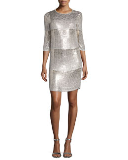 Sequin Paneled Cocktail Dress