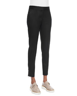 Vivian Skinny Suiting Zip-Cuff Ankle Pants, Black