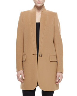 Bryce One-Button Wool-Blend Coat, Camel