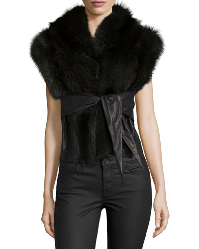 Fisher Fur & Leather Belted Vest, Dark Gray