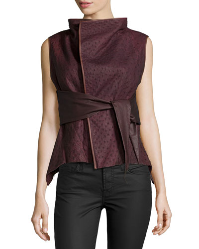 Belted Python & Leather Vest, Blood