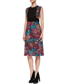 Elderberry Floral-Print Sleeveless Lace-Detail Dress, Elderberry