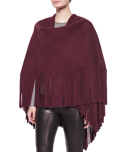 Fringe-Detail Wrap, Dark Claret