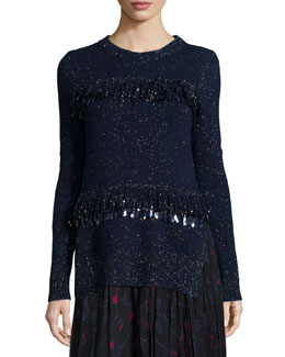 Sequined Fringe Shimmer Sweater