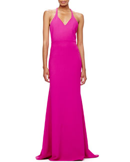 V-Neck Crepe T-Back Gown