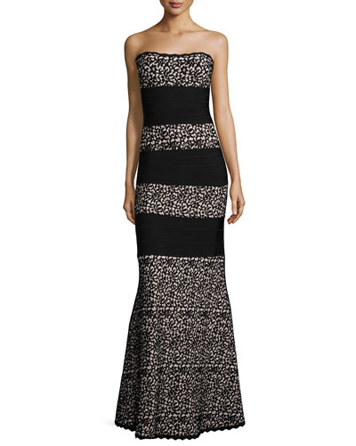 Strapless Striped Lace Gown, Black/Combo