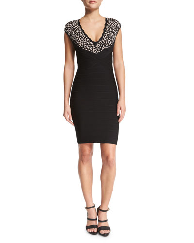 Floral-Lace V-Neck Bandage Dress, Black Combo