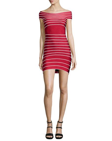 Micro-Striped Bandage Dress, Lipstick Red