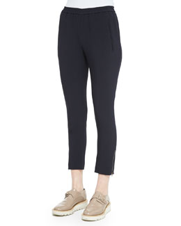 Tamara Relaxed Tapered Track Pants with Elastic Waist, Navy