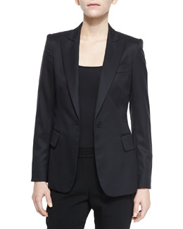Iris One-Button Wool Blazer, Black