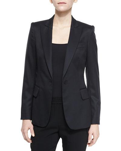 Iris One-Button Wool Blazer, Black