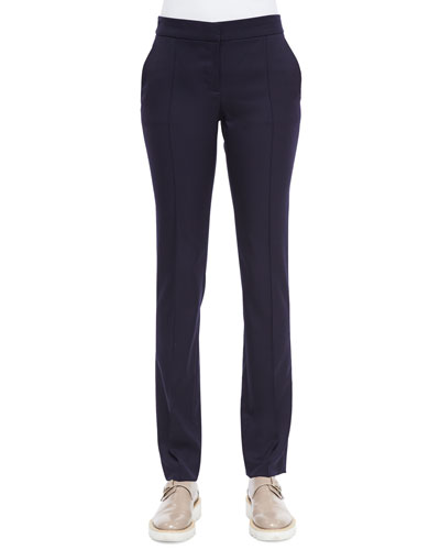Anna Raised-Seam Straight-Leg Trousers, Navy