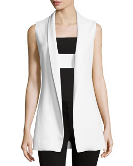 Open-Front Shawl-Collar Vest, Chalk