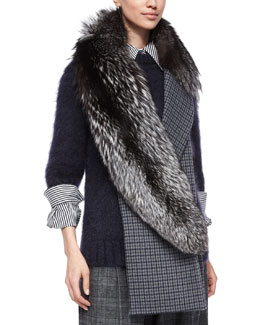 Fox-Fur & Check-Print Scarf, Slate/Navy