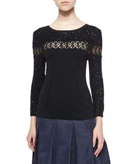 Embellished Lace-Inset Top, Black