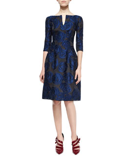 Floral-Jacquard Fit-&-Flare Dress, Black/Navy
