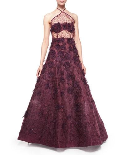 Halter-Neck Floral-Embellished Organza Gown, Bordeaux