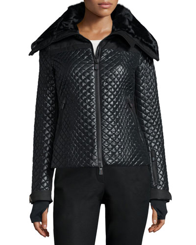 Lescha Quilted Fur-Collar Coat, Black
