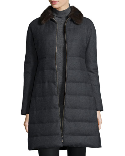 Cawl Quilted Wool Coat w/Mink Fur Collar, Gray