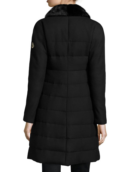 b33866165 Cawl Quilted Wool Coat w/Mink Fur Collar Black