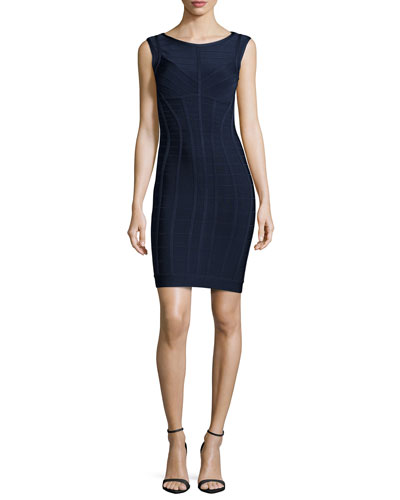 Sleeveless Solid Bandage Dress, Blue