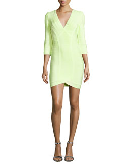 Neon V-Neck Bandage Dress