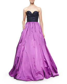 Strapless Ball Gown w/Back Cutout, Hyacinth